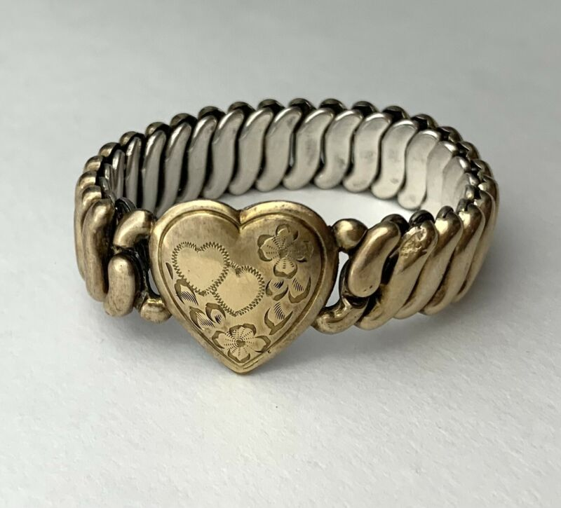 Gold Tone Sweetheart Bracelet Expansion Etched Heart Small Size Childs? Antique?
