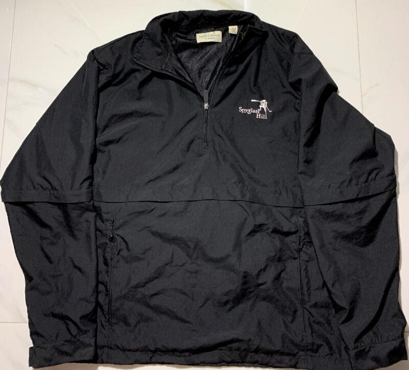 Spyglass Hill Pebble Beach Golf Rain Black Jacket Size Large