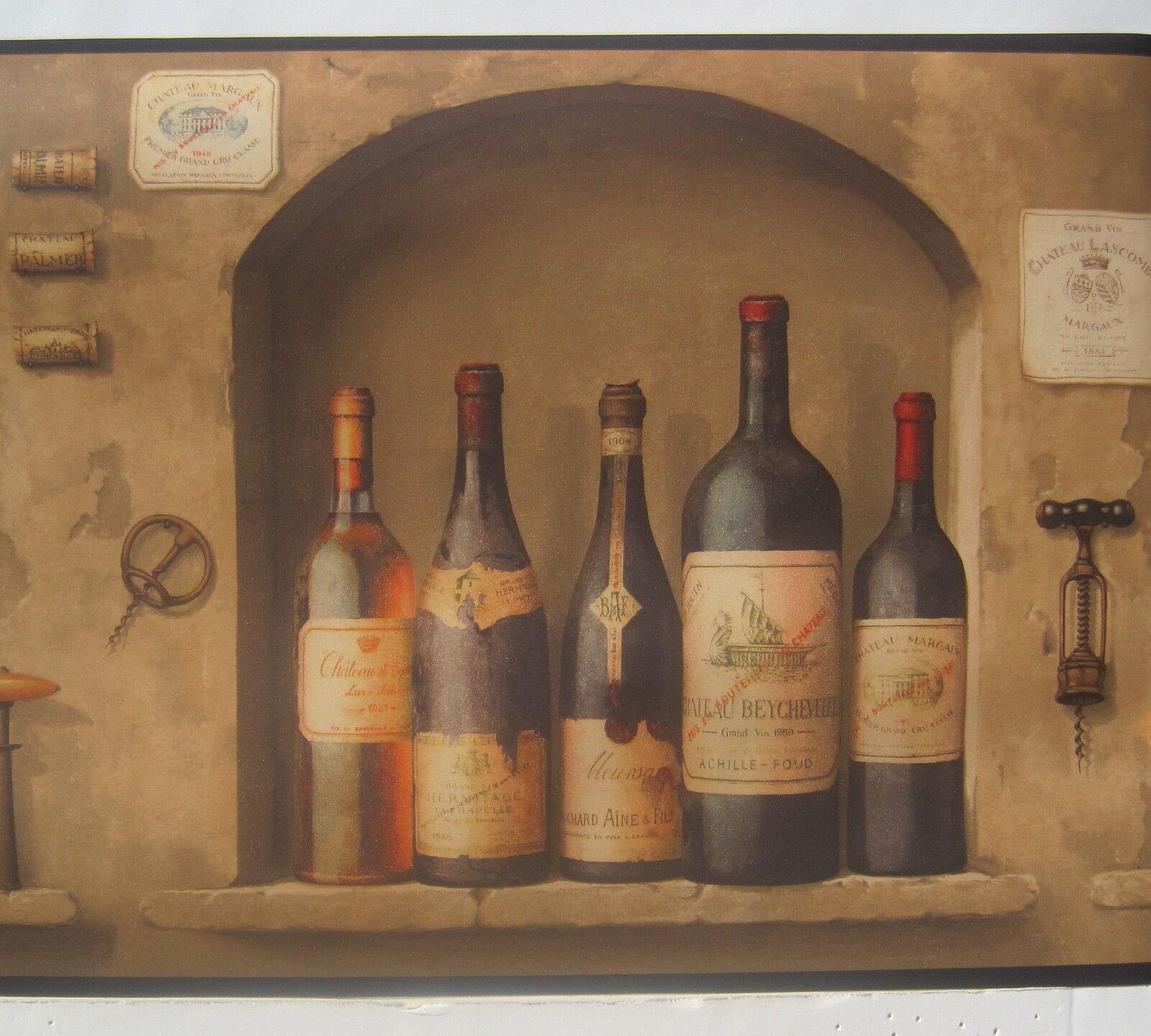 Wine Bottles Bordeaux Burgundy Wine Cellar Wallpaper Borders 10 1/4