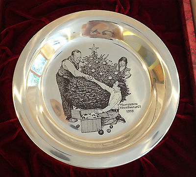Trimming The Tree Norman Rockwell Sterling Silver Christmas Plate Franklin Mint