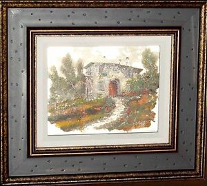 GUIDO-BORELLI-Original-Oil-on-Silver-Plate-Italian-Countryside-Signed-Framed