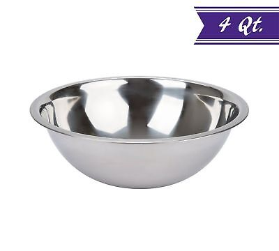 4 Quart Mixing Bowl Stainless Steel, Polished Mirror Finish Nesting Bowl Quart Polished Stainless Steel Bowl