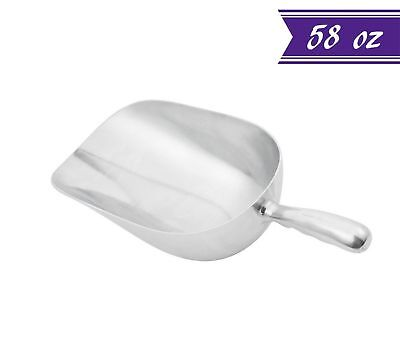 58 Ounce Aluminum Scoop - 58 oz Aluminum Scoop with Contoured Handle, Large Utility Scoop by Tezzorio