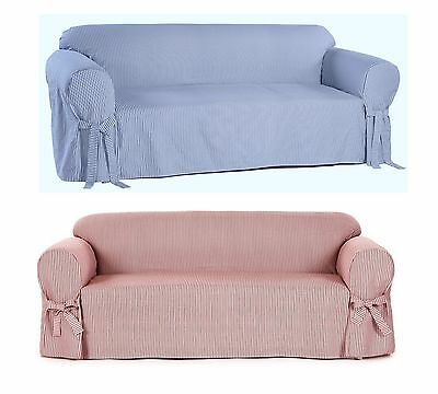 Cotton Loveseat - All Cotton Slipcover Ticking Pin Stripe Sofa Loveseat Chair Twill Thick Fabric