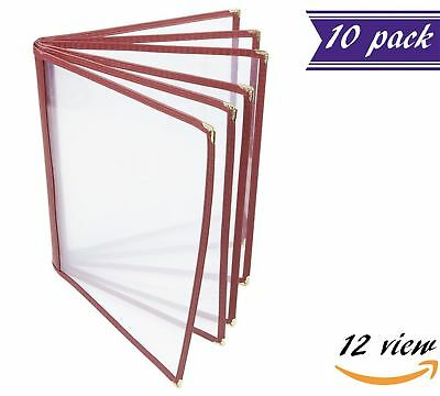 10 Pack 6 Page Book Fold Menu Covers Maroon 12 View 8.5 X 11-inches Insert