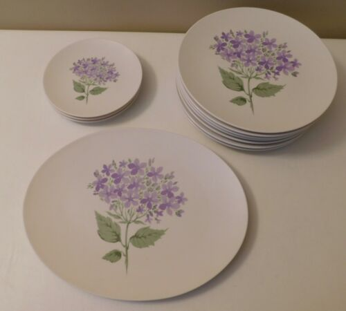 Boontonware Dinner Bread Plates Platter Violets Purple - Lot of 11 - Please Read