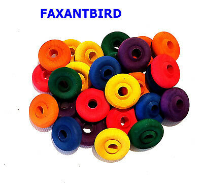 Colored Wood Wheels Parts For toy making Parrot Bird Toy Cage Toys Supply 30 pcs