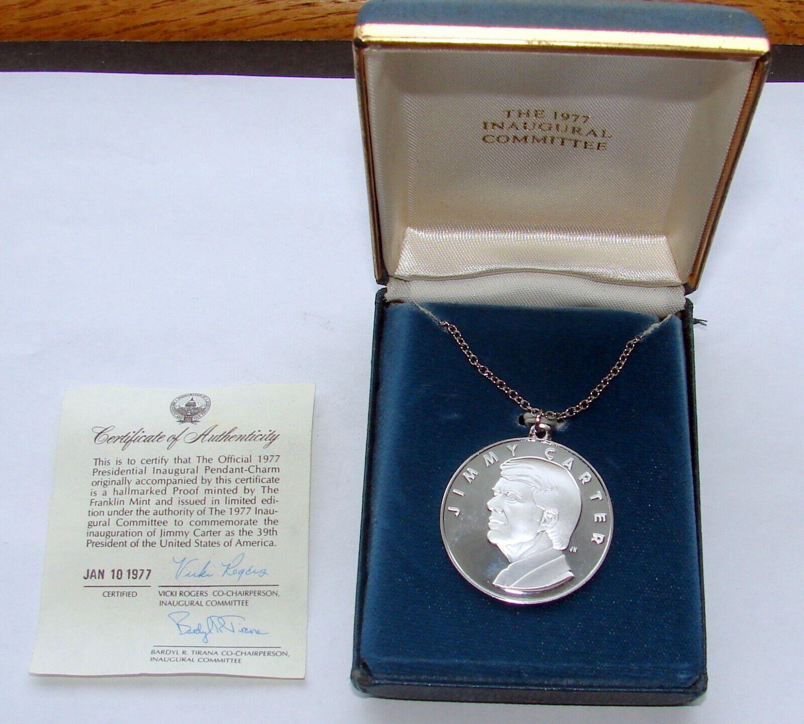 1977 FRANKLIN MINT JIMMY CARTER PROOF .999 SILVER MEDAL CHARM W/BOX CERT - $22.50