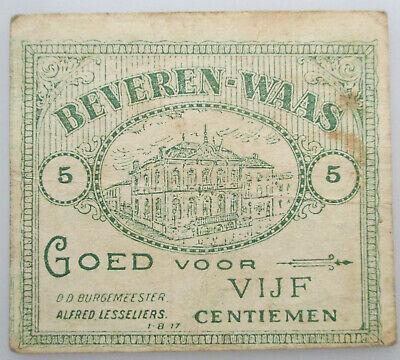 België Noodgeld Beveren Waas 5 centiemen 14-18 Billet de Nécèssité