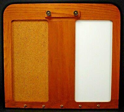 Oak Kitchen Cork Bulletin Board Key Rack Dry Erase Memo Wall Mount Hanging