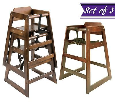 (Set of 3) Baby High Chair, Stacking High Chair with Walnut Wood Finish