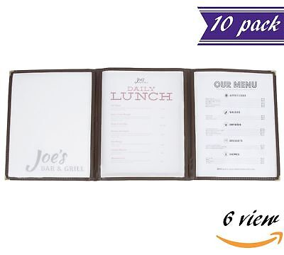 10 Pack Triple Panel Menu Covers Brown 6 View 8.5 X 11-inches Insert