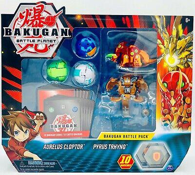 Bakugan Battle Pack 5-Pack, Aurelus Cloptor and Pyrus Trhyno, Collectible Card Bakugan Battle Pack
