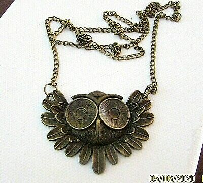 CLOSEOUT Fashion Owl Necklace - Antique Bronze - Chain Included