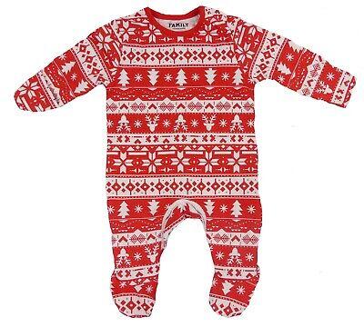 Baby Christmas Suit (Baby Christmas Red Fairisle Patterned Sleep-suit Baby-grow Footsie)
