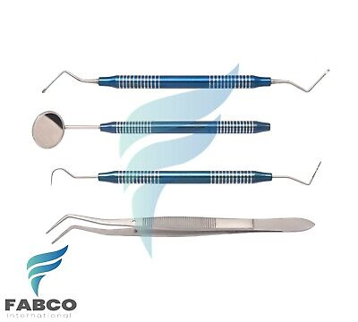 Basic Instrument Dental Mirror Explorer College Plier Lucas 4pcs Blue Coated Set
