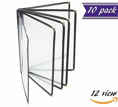10 Pack 6 Page Book Fold Menu Covers Black 12 View 8.5 X 11-inches Insert