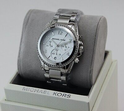 NEW AUTHENTIC MICHAEL KORS BLAIR CHRONOGRAPH SILVER WOMEN'S MK55165 WATCH