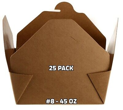 25 Pack Paper Take Out Food Containers 45 Oz Kraft Brown Take Out Boxes To Go