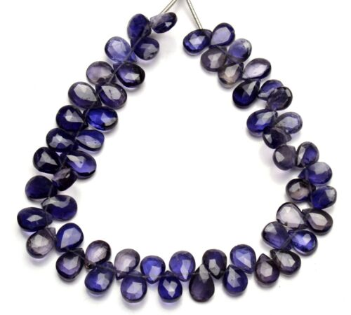 """Natural Gem Iolite Faceted 9x6mm Faceted Size Pear Shape Beads 9"""" Water Sapphire"""
