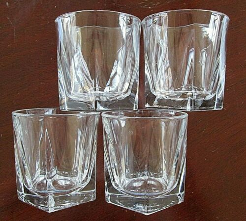 LOT of 4 LIBBEY DURATUFF 9oz INVERNESS Pentagon Old Fashioned Glasses / Tumblers
