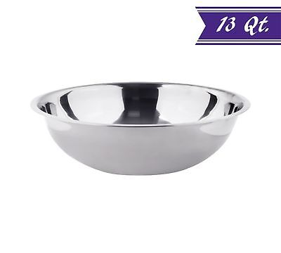 13 Quart Stainless Steel Mixing Bowl, Polished Mirror Finish Nesting Bowl Quart Polished Stainless Steel Bowl