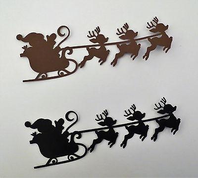 Santa Flying Reindeer Sleigh Silhouette Paper Die Cut Scrapbook (Sleigh Silhouette)