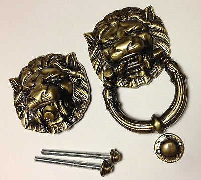 Large Heavy Solid Brass Lion Head Door Knocker and DoorBell Antique Matching Set