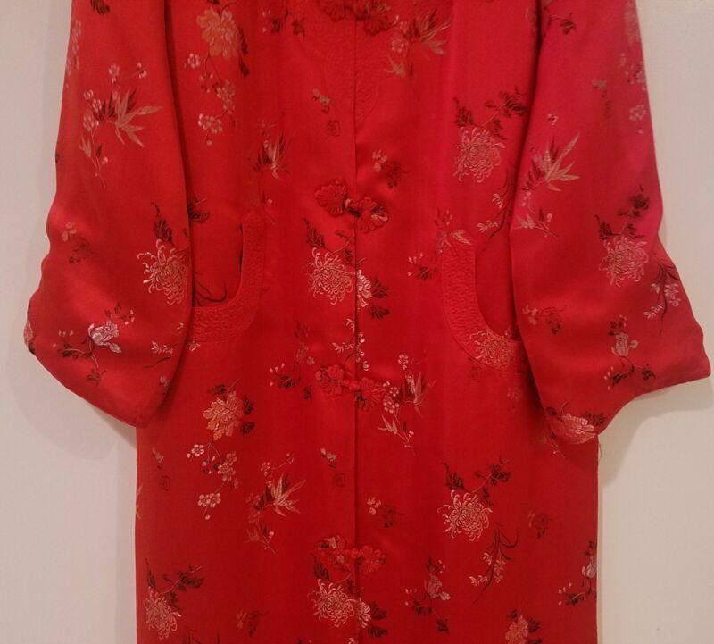 Asian Chinese Silk Satin Red & Gold Brocade Mandarin Robe Coat Vintage