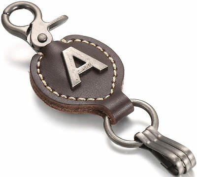 Mio Marino Brown Leather Alphabet Keychain, Single Letter with Easy Clasp Key