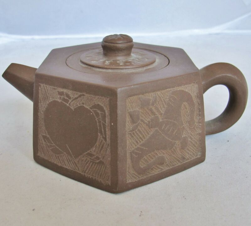 "5.4"" Chinese YIXING Zisha Purple Clay Hexagon Shape Teapot with Bats & Peaches"