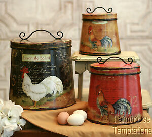 COTTAGE ROOSTER CANISTER SET Shabby FRENCH COUNTRY Chic TIN Tuscan KITCHEN  Decor