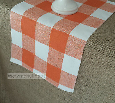 Orange Plaid Buffalo Check Table Runner Gingham Country Autumn Fall Home Decor - Country Table Decorations