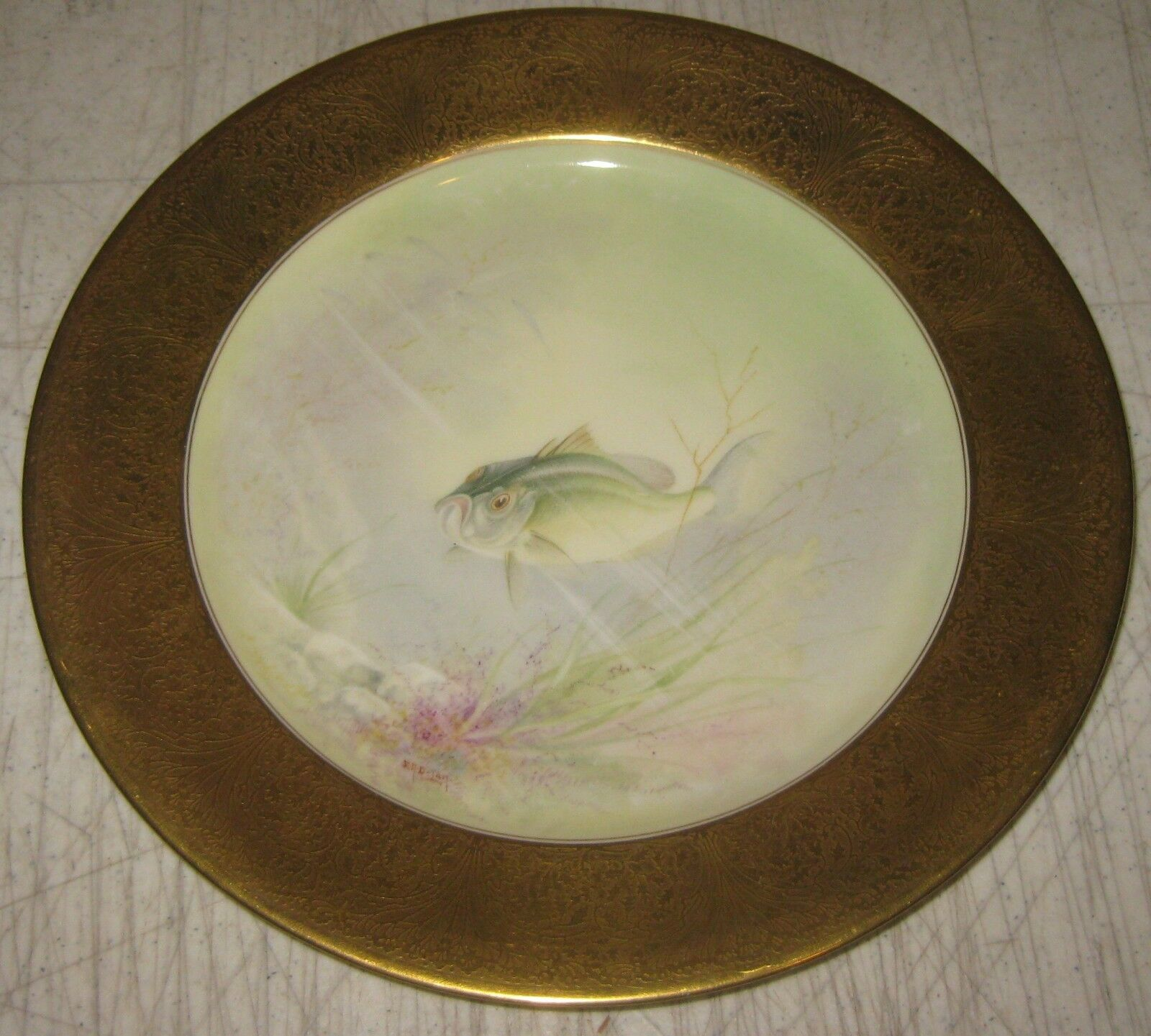 RARE Antique LENOX Black Bass Fish TIFFANY  CO Painted ER DeLan CABINET Plate