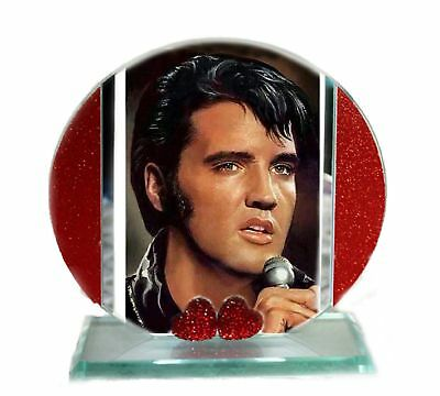 Elvis, Hound Dog, Red Hearts Cut Glass Round Plaque Xmas | Cellini Plaques #