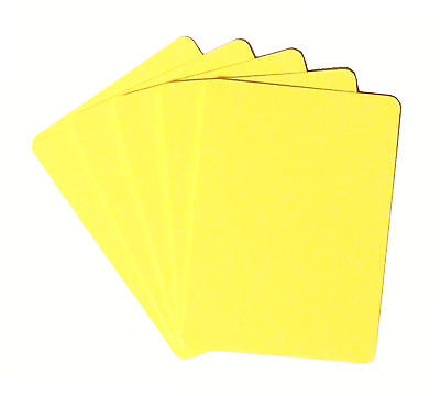 Set of 5 Casino Grade 100% Plastic Poker Size Cut Cards - Rounded Corners Yellow