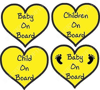 BABY ON BOARD CHILD CHILDREN FOOTPRINT HEARTS SAFETY STICKER CAR VEHICLE SIGNS