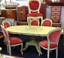 7 piece dining table setting FRENCH PROVINCIAL STYLE Ashmore Gold Coast City Preview