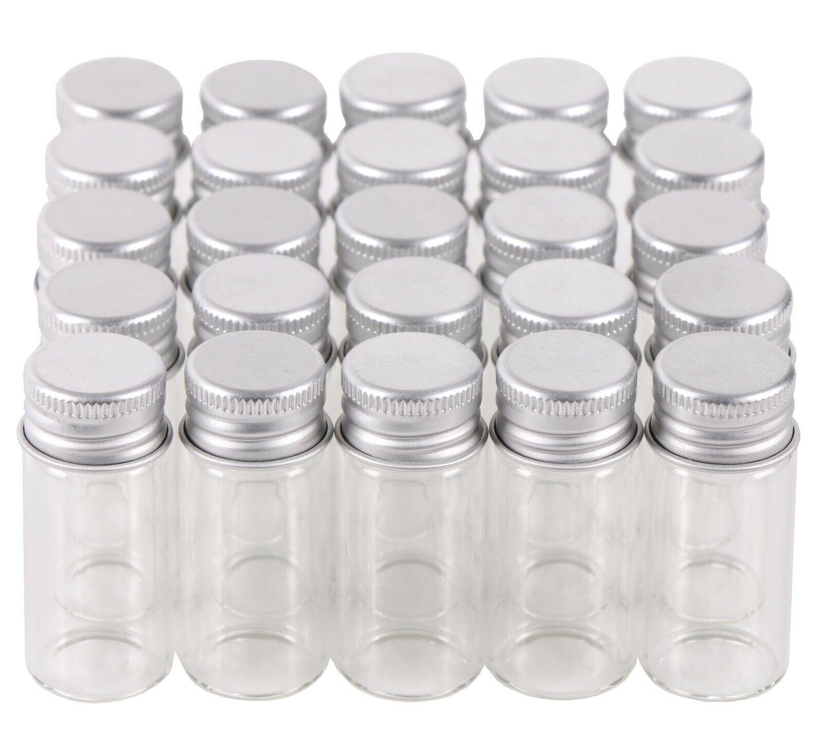 100X Tiny Vials 10ml Small Glass Bottles Mini Jars with Alum