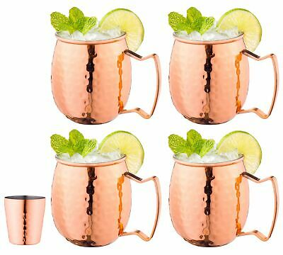 Moscow Mule Copper Mugs with Handles (4-Pack) 1 Shot Glass Classic Drinking...