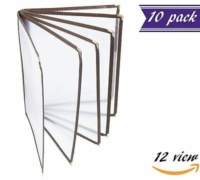 10 Pack 6 Page Book Fold Menu Covers Brown 12 View 8.5 X 11-inches Insert
