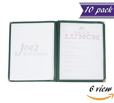 10 Pack 3 Page Book Fold Menu Covers Green 6 View 8.5 X 11-inches Insert
