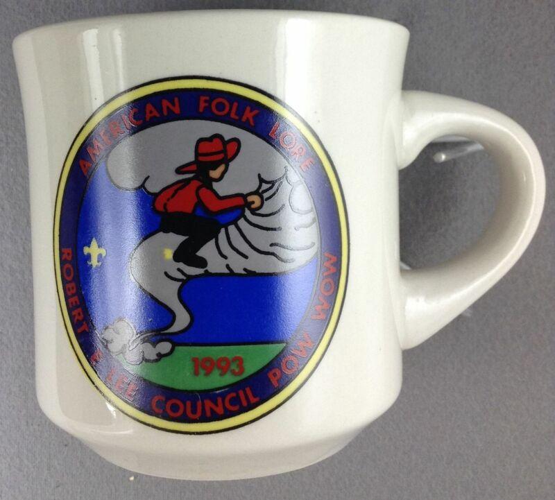 Boy Scout Coffee Mug 1993 American Folk Lore Robert E. Lee Council Pow Wow [MUG-