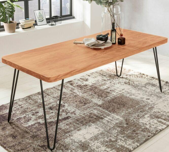 Wohnling Massivholz Akazie Esstisch BAGLI 180 x 80 cm Küchentisch Massiv Tisch