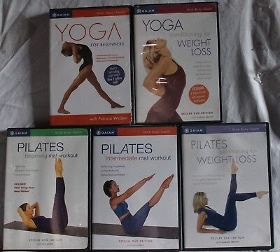 5 Gaiam workout DVD lot Ana Caban yoga pilates weight loss suzanne Deason mat