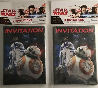 Star Wars Party Invitations (New Star Wars Party Invitations R2D2 BB8 2x Packs Of 8 Each With)