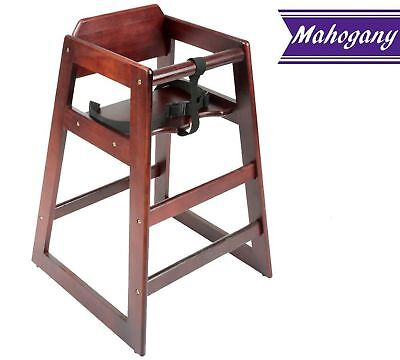 Baby High Chair, Stacking Restaurant Wood High Chair with Mahogany Wood -