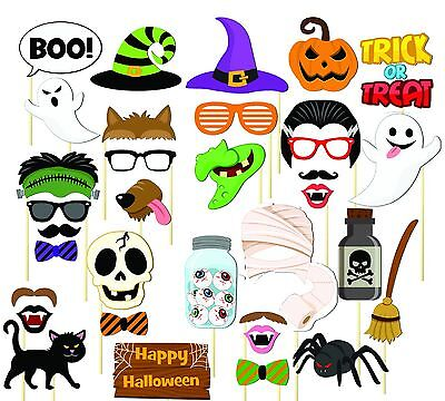 35PCS Halloween Party Card Masks Pumpkin Photo Booth Props Mustache US - Halloween Photobooth Props
