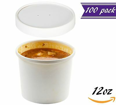 (Set of 100) 12 oz White Paper Soup Containers with Lids Combo Pack, - Paper Containers