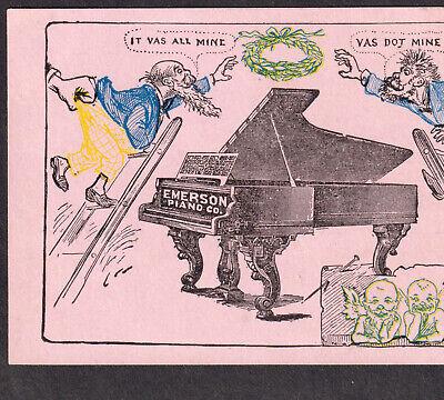 Emerson Piano 1800's German ethnic Cherub comic Victorian Advertising Trade Card